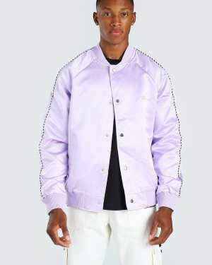 Mens Purple Satin Bomber Jacket With Chest Man Embroidery, Purple
