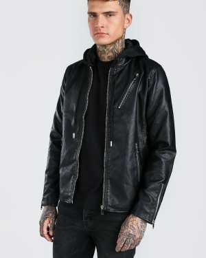 Mens Black Leather Look Biker Jacket With Jersey Hood, Black