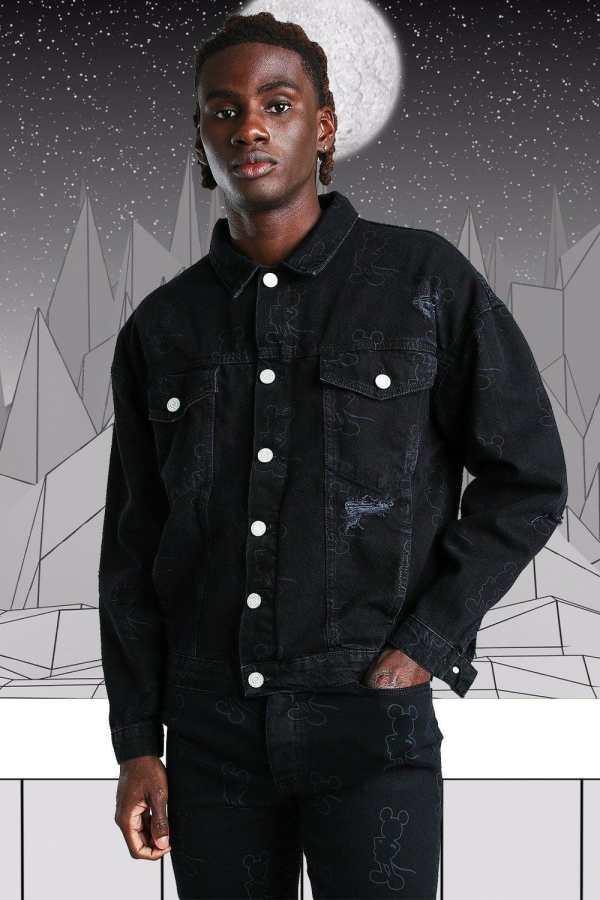 Mens Black Oversized Disney Mickey Printed Denim Jacket, Black