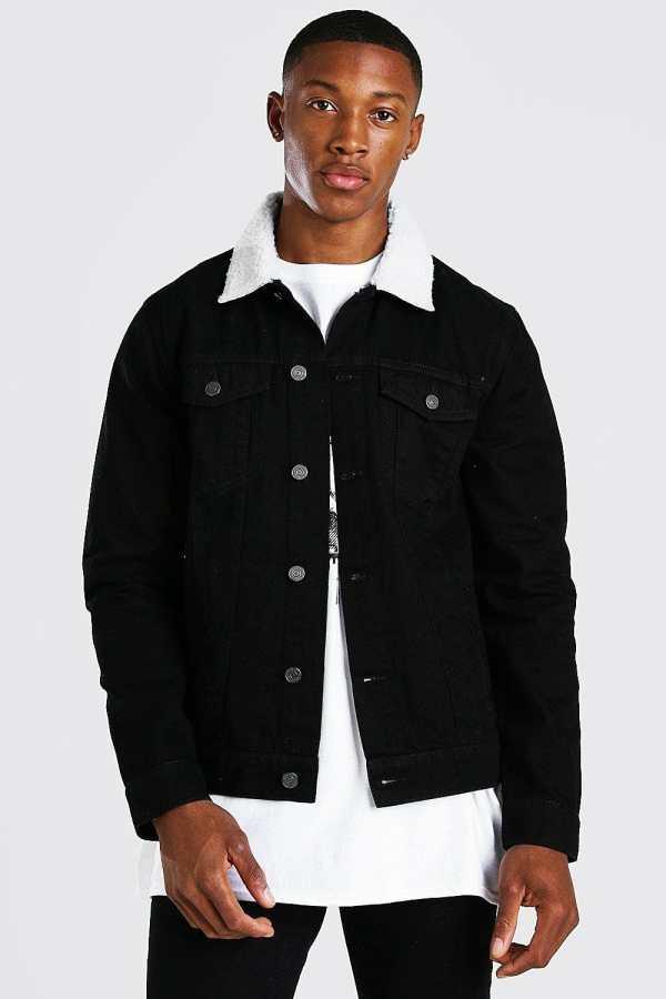Mens Black Regular Denim Jacket With White Borg Collar, Black