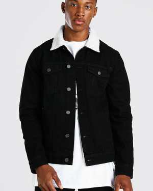 Mens Black Regular Denim Jacket With White Borg Collar, Black
