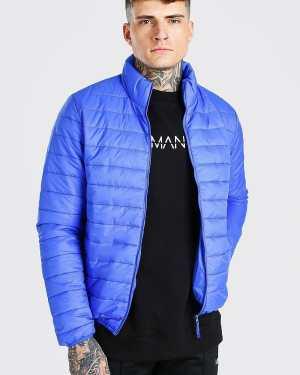 Mens Blue Foldaway Padded Jacket With Bag, Blue