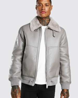 Mens Grey Leather Look Fur Collar Aviator Bomber Jacket, Grey