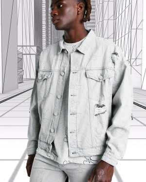 Mens Grey Oversized Disney Mickey Printed Denim Jacket, Grey