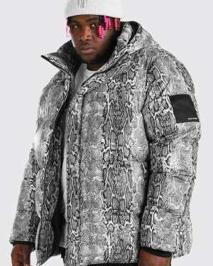 Mens Grey Plus Size Snake Print Puffer Jacket, Grey
