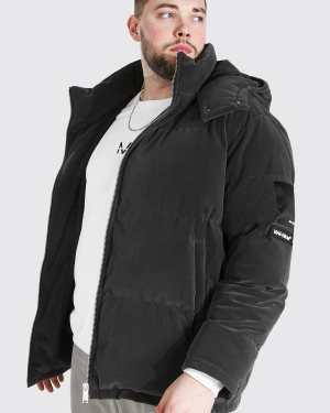 Mens Grey Plus Size Velvet Puffer Jacket, Grey