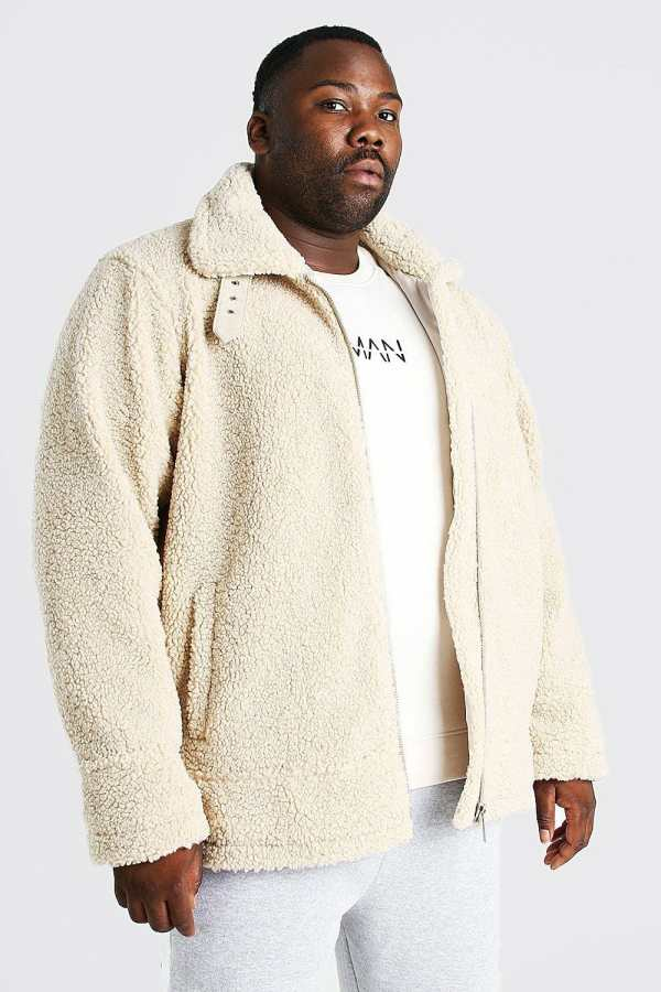 Mens White Plus Size Borg Trucker Jacket, White