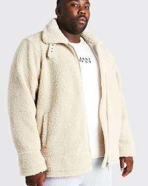 Mens White Plus Size Borg Trucker Jacket, White