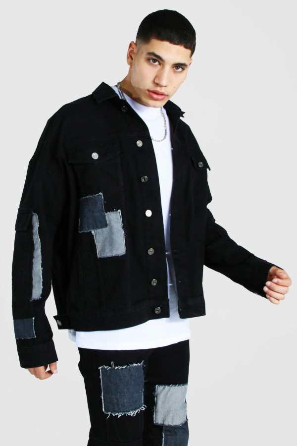 Mens Black Oversized Patchwork Cargo Denim Jacket, Black