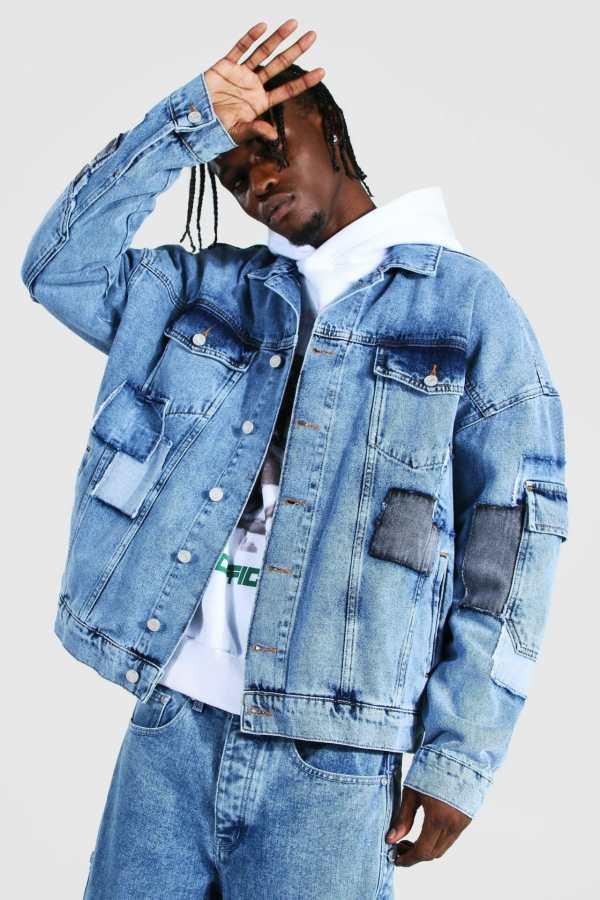 Mens Blue Oversized Patchwork Cargo Denim Jacket, Blue