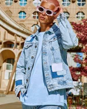 Mens Blue Regular Fit Patchwork Denim Jacket, Blue