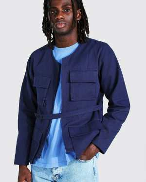 Mens Blue Twill Utility Pocket Jacket With Belt Detail, Blue