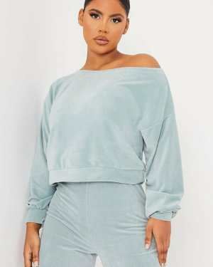 Mint Green Soft Teddy Fleece Off The Shoulder Top - 12