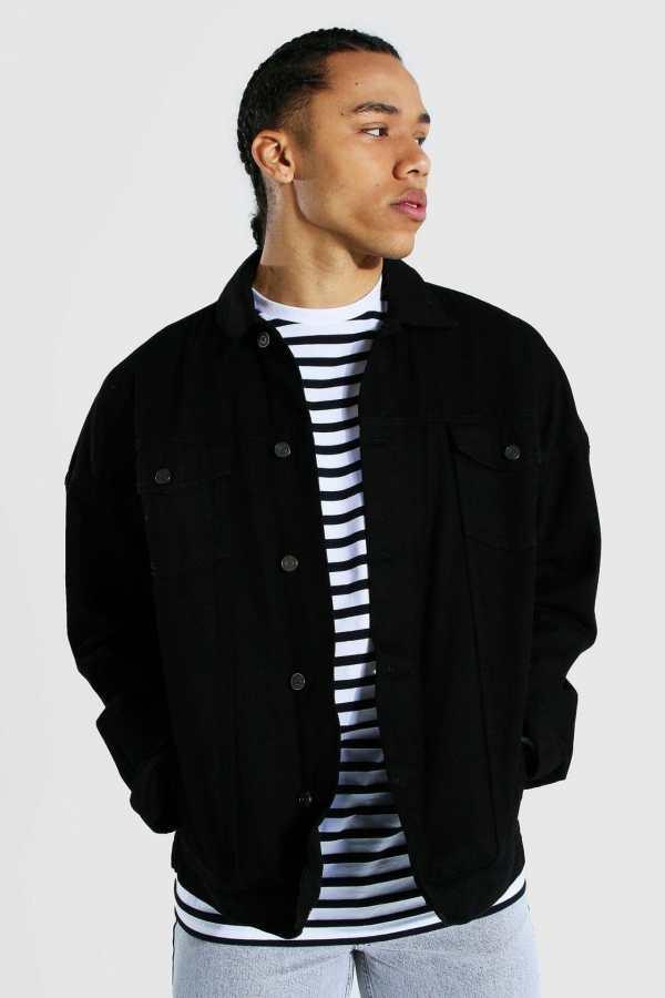 Mens Black Tall Oversized Denim Western Jacket, Black