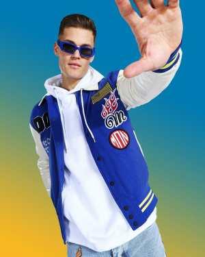 Mens Blue Tall Official Varsity Badge Bomber Jacket, Blue