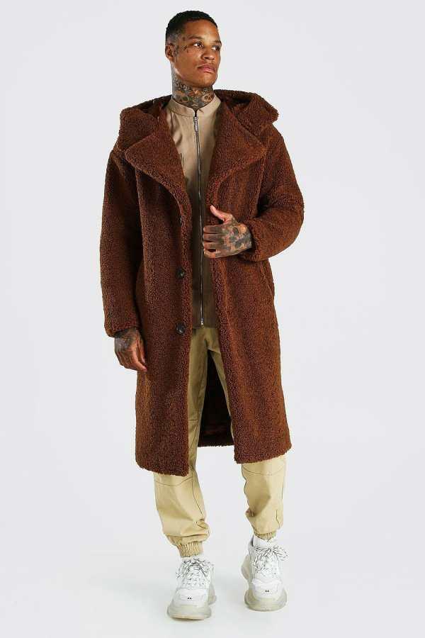 Mens Brown Borg Single Breasted Hooded Longline Jacket, Brown