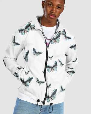 Mens White Butterfly Coach Jacket, White
