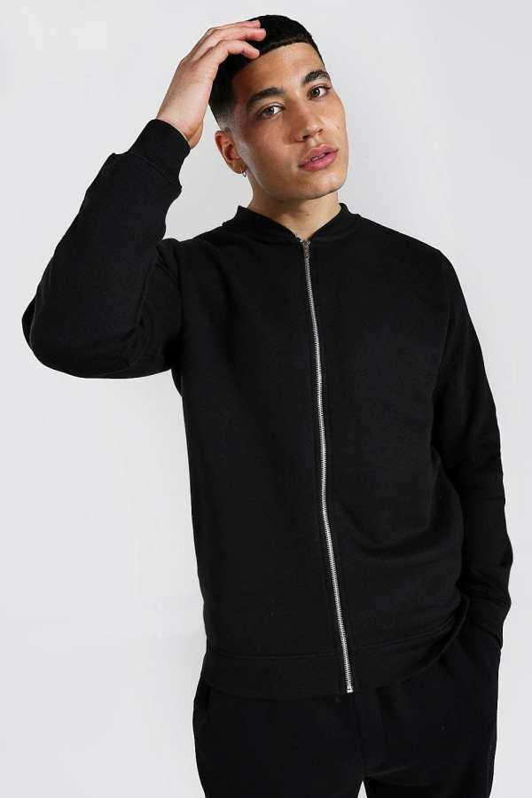 Mens Black Jersey Bomber Jacket, Black