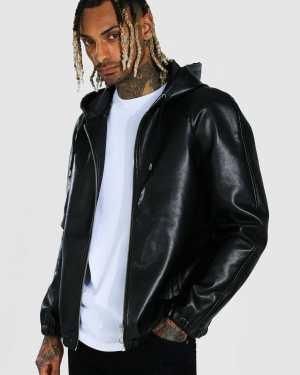 Mens Black Leather Look Hooded Zip Through Jacket, Black