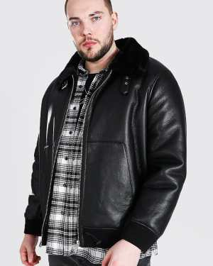 Mens Black Plus Size Leather Look Aviator Bomber Jacket, Black