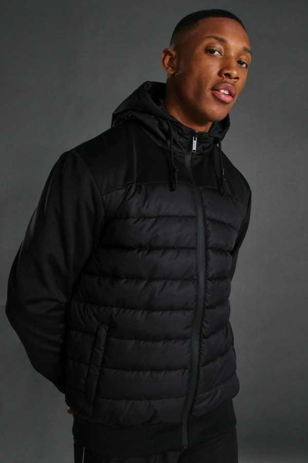 Mens Black Sport Quilted Zip Through Jacket, Black