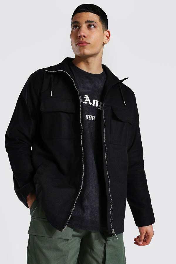 Mens Black Twill Field Jacket, Black