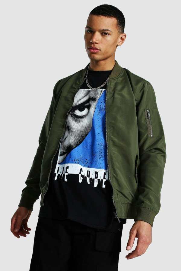Mens Green Tall Ma1 Bomber Jacket, Green