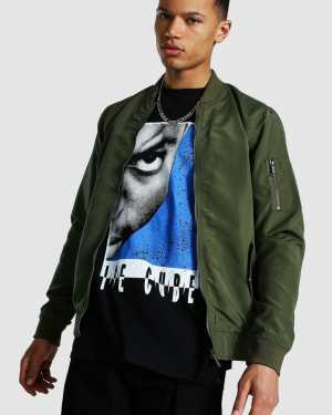 Mens Green Tall Ma1 Bomber Jacket, Green