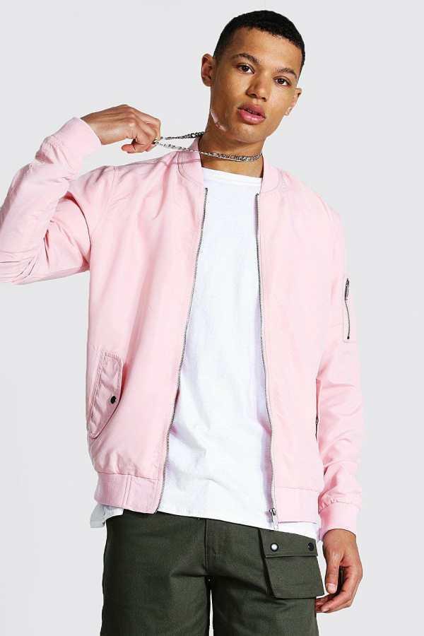 Mens Pink Tall Ma1 Bomber Jacket, Pink