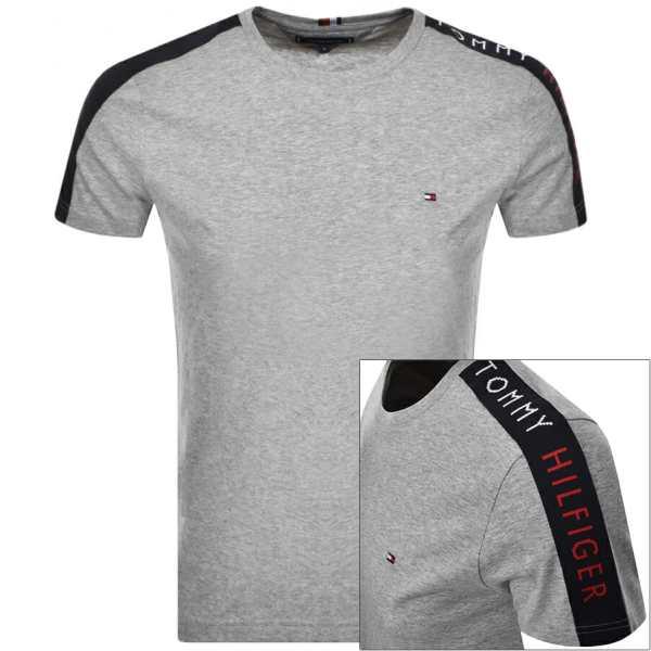 Tommy Hilfiger Logo Sleeve Tape T Shirt Grey