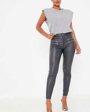 Grey High Waisted Zipped Coated Denim Jean - 14 / GREY