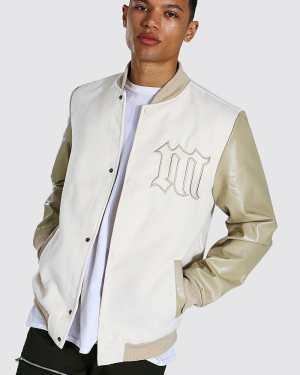 Mens Cream Tall M Badge Melton Varsity Bomber Jacket, Cream