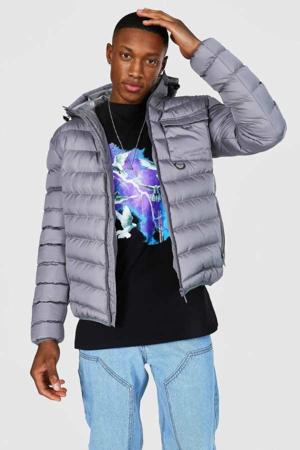 Mens Grey Utility Quilted Jacket, Grey