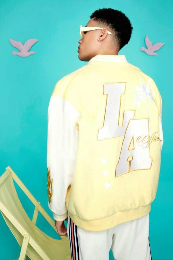 Mens Yellow Oversized La Varsity Jacket, Yellow