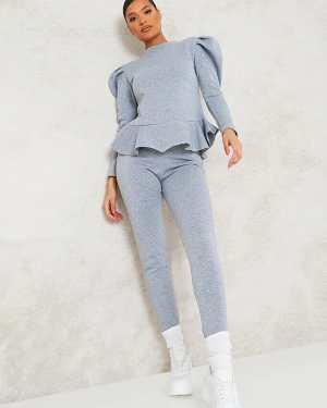 Grey Puff Sleeve Sweatshirt And Jogger Set - 8 / GREY