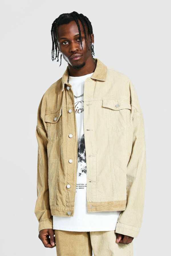 Mens Beige Oversized Contrast Cord Jacket, Beige