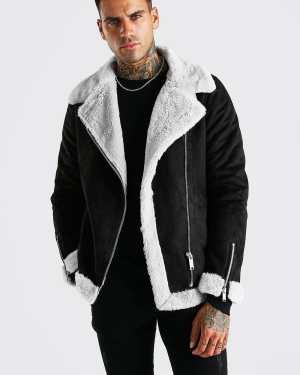 Mens Black Faux Fur Lined Suede Aviator Jacket, Black
