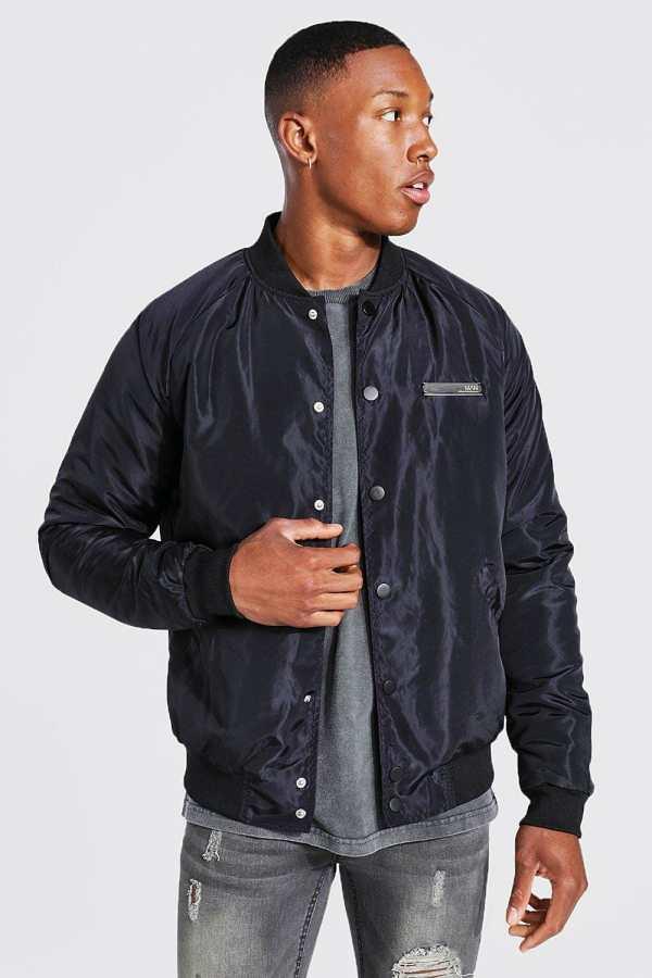 Mens Black Smart Man Branded Bomber Jacket, Black