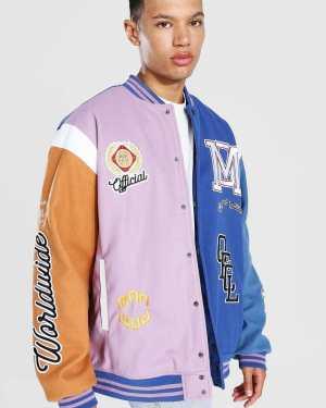Mens Purple Tall Limited Ed. Colourblock Varsity Jacket, Purple
