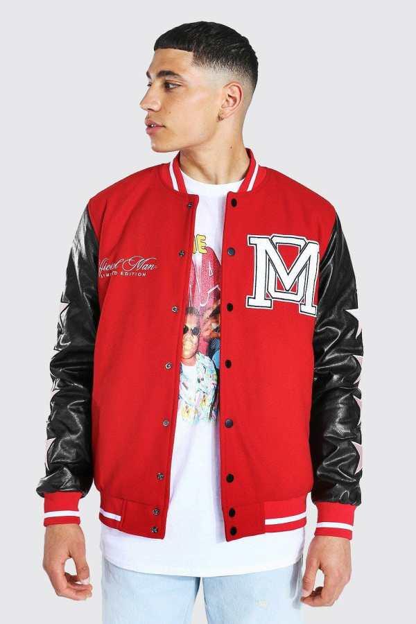 Mens Red Om Star Sleeve Varsity Jacket, Red