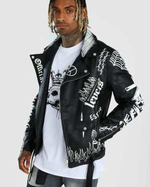 Mens Black All Over Graffiti Biker Jacket, Black