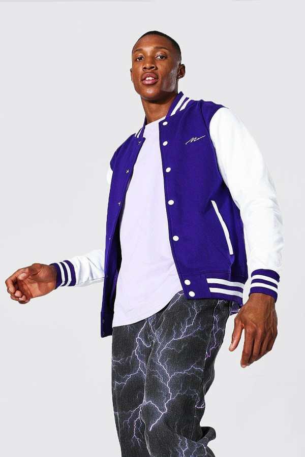 Mens Purple Man Signature Jersey Varsity Bomber Jacket, Purple