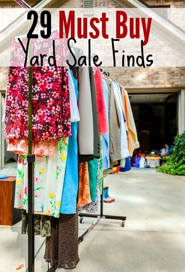 Must Buy Yard Sale Finds You Can't Pass Up - Headed yard sale shopping? This is one yard sale shopping tip you won't want to miss! These 29 must buy yard sale finds are sure to either save you money or make you money!