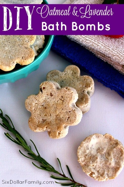Soak up some relaxation with these DIY Oatmeal and Lavender Bath Bombs! They're perfect for that at home spa feeling or to give as a gift!
