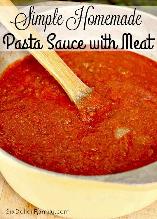 Simple to make and oh so tempting, this simple homemade pasta sauce with meat recipe will have you at first bite! You'll NEVER buy jar sauce again!