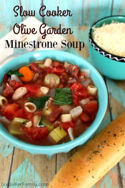Skip the restaurant and make your favorite Olive Garden dish at home! Budget friendly and delicious this Slow Cooker Olive Garden Minestrone Soup Copycat Recipe is sure to become a favorite!
