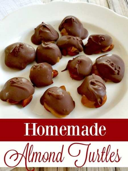 Perfect for Christmas gift boxes or just as a special treat, these Homemade Almond Turtles candies are both delicious and easy to make!