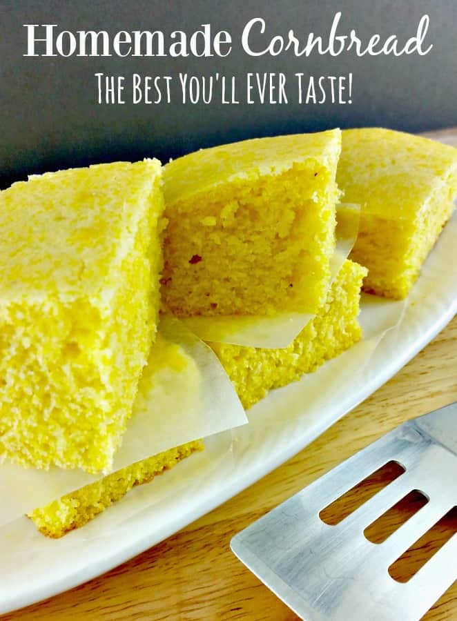 Skip the boxed mix and make this homemade cornbread recipe {Jiffy Cornbread Copycat} instead! Warm, just the right texture and oh so good! You'll wonder why it took you so long to make it!