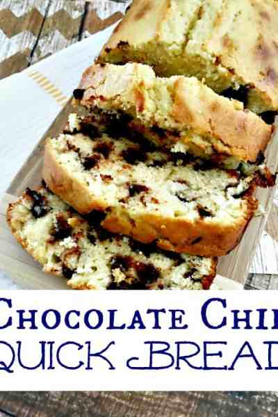 Chocolate Chip cookie lovers will ADORE this easy quick bread recipe! This chocolate chip quick bread is easy to make, soft and moist and of course, full of delicious chocolate chips!