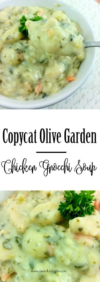 Love Copycat Olive Garden Recipes? You'll ADORE this one! This Copycat Olive Garden Chicken Gnocchi Soup Recipe is perfection in a bowl!